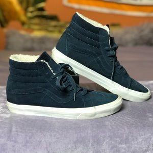 {10 M} Vans Navy Blue Wool-Lined High-Tops